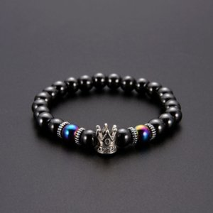 Black Magnetic Hematite Beads Strand Bracelet Ancient Silver Crown Bracelets for Women Mens Fashion Jewelry Will and Sandy