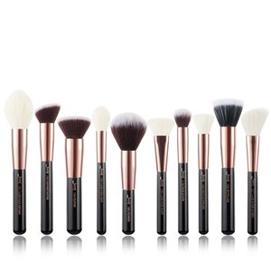 Jessup brushes 10pcs Black Silver Face Makeup brushes set beauty Cosmetic Make up brush Contour Powder blushRabin