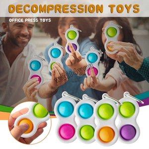 100PCS DHL Push Bubble simple dimple Key Ring Fidget Pop It Toys Keychain Kids Adult Novel Squeeze Bubbles Puzzle Finger Fun Game Fidgets Toy Stress Relief