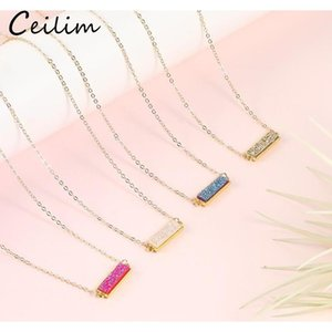 New Fashion Resin Druzy Necklace For Women Gold Plated Chain Statement Colorful Rectangle Stone Pendant Choker Necklace Jewelry 724 T2
