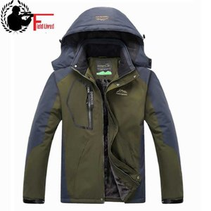 Мужская зимняя Parka горячая флисовая куртка водонепроницаемый пальто теплая варенье мужская с капюшоном снежная куртка плюс размер 4xL 5XL анорак черный синий красный A0607