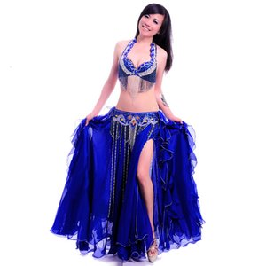 Women Belly Dance Costume Professional Performance Bellydance Outfit Bras Belt Skirt Set Oriental Beads Costumes Dancewear
