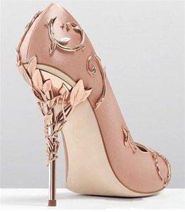 Ralph روسو روز الذهب مصمم مريحة أحذية الزفاف الزفاف أزياء المرأة عدن الكعوب الأحذية لحفل الزفاف مساء حزب حفلة موسيقية الأحذية