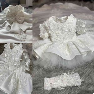 Custom Made Christening Dresses For Babies Lace Appliqued Bow Sash Toddler Baptism Gowns Beaded Kids First Communication Dress Real Photo