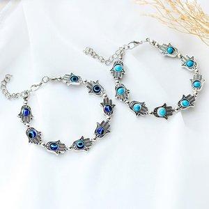 Fashion Ladies Bracelet Charm Blue Evil Eye Ethnic Style Punk Handmade Jewelry Lady Birthday Gift Selling Link, Chain