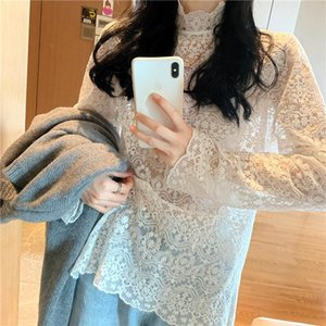 Spring Summer Women's Blouse Lace Elegant Hollowing Out Cochet Mesh Bottoming Sweet Long Tops DB879 Blouses & Shirts