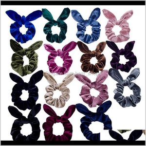 Accessories Rabbit Ears Hairbands Veet Elastic Ropes Solid Bow Band Ponytail Holder Girls Scrunchy Hair Accesories 15 Colors Dw4642 T7 Xl63S