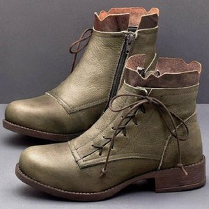 boot 8 vintage-style ladies winter leather boots ankle boot lace up booties short shoe XDLJ