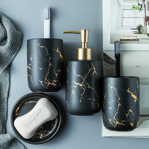 Ceramic Imitation Marble Bathroom Accessory Set Washing Tools Bottle Mouthwash Cup Soap Toothbrush Holder Household Articles Bath