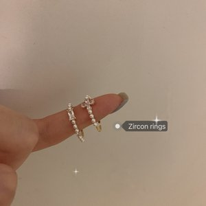 Pearl Zircon Ring Women's Minority Design Personality Versatile Index Finger Folding Opening Adjustable J281 Xoof