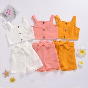 Baby Girl Clothes Kids Suspender Short Top Bowknot Shorts Clothing Sets Summer Solid Button Sleeveless Vest Pants Suits Outfits CYP641