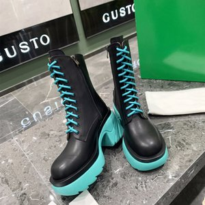 New TOP quality Women High Lace-up Casual Shoes Designer Zipper Boots Luxury Rome Knight Martin Boot Fashion 100% Leather Colours Oxhide Platform Shoe Size 35-40