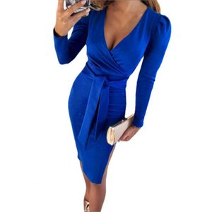 Casual Dresses Office Lady Dress 2021 Beautiful Ribbed Tight Waist Lightweight Skinny