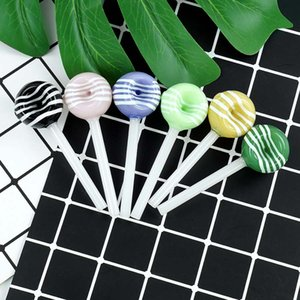 Colorful Lollipop Smoking spoon Hand Pipe Oil Burner Pipes Tobacco Dry Herb Silicone Bong Glass Bubbler 3.9''