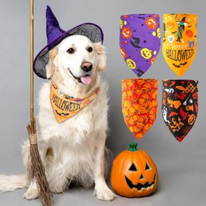 Dog Collars & Leashes Halloween Cat Bandana Collar Scarf Pet Accessories Neckerchief Small Large Dogs Bibs Cotton Tie Grooming Products