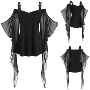 new Women Halloween T-shirts Gothic Criss Cross Lace Plus Size Insert Butterfly Sleeve T-shirt Halloween costume fashion Tops1