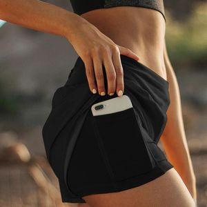 Women Summer Running Shorts Jogging Gym Fitness Training Fake Two Beach Short Pants Sports Workout Bottoms Clothing Women's