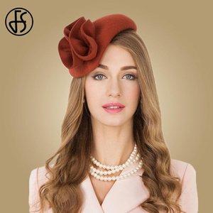 FS Bayanlar Yün Fascinator Şapka Düğün Kadınlar için Zarif Çay Partisi Örgün Vintage Pillbox Hatfelt Çiçek Fedoras Chapeau Femme
