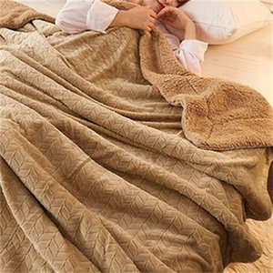 Luxury Cashmere Blanket Winter Thick Double Layer Sherpa Throw 150x200cm Warm Comfortable Weighted Flannel Fleece Blanket 201113 771 R2