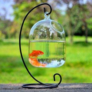 Creactive Hanging Ball Terrarium With Bent Stable Stand Glass Mini Fish Tank Flower Vase Plant Bottle Garden