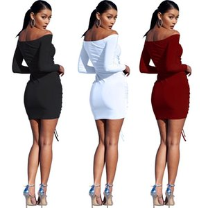 Casual Dresses 2021 Autumn Woman Solid Color Ruched Dress Long Sleeve Slash Backless Drawsting Bodycon Night Club Party Wear Outfits