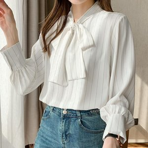 Women's Blouses & Shirts Fashion Elegant Bow Collar White Women Striped Korean Long Sleeve Tops Fall 2021 All Match Casual Clothes