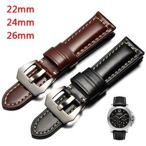 Watch Bands 22 24 26mm Vintage Genuine Cowhide Strap For 1950 Waterproof Leather Wrist Band Black Brown Pin Buckle Men