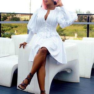 Слованные рукава белые африканские платья для женщин халат одежда мода o шеи линия мини-платье Partyclub Vestidos 2021 весенняя этническая одежда