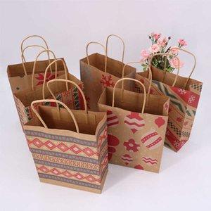 크리스마스 눈송이 쇼핑 가방 핸들 갈색 종이 가방 초콜릿 칩 쿠키 캔디 랩 선물 가방 파티 용품 결혼식 휴대용