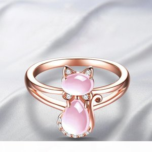 Cute Animal Rose Gold Color Cat Ring for Women Girls Pink Crystal Stone Kitten Finger Ring Open Adjustable Jewelry Gifts anillos