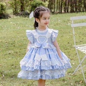 Vestidos de niñas Cekcya Girls Español Turquía Vestido Niños Lolita Princesa Encaje Bola Bola Bolsa De Cumpleaños Infantil Trajes Baquitismo Bautismo Vestidos