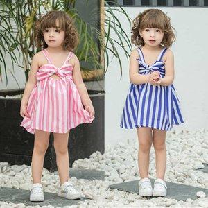 Summer Children's Striped Skirt Baby Girls Dress Lovely Sleeveless Big Bowknot Princess Slip Dresses Party Christmas Clothes G55L3NA