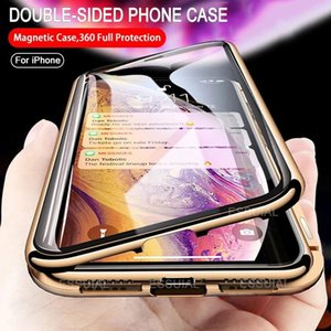 Full Magnetic Adsorption Double Sided Glass Case For 11 12 Pro Max Xs Xr 7 8 Protective Anti Tempered Cover Cell Phone Pouc Pouch Pouche Pou