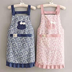 Aprons Cartoon Kitchen Cooking Apron Thicken Women Cotton Bib With Pockets Printing Japanese Style Dress Ladies House Supplies