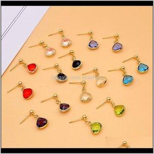Dangle Chandelier Colorful Teardrop Crystal Simple Wild Retro Rhinestone Earrings Birthday Stone Ear Drop For Women Designer Jewelry B Bdlqz