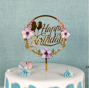 Gold Happy Birthday Cake Toppers Flower Acrylic Glitter Cupcake Dessert Toppers for Party Anniversary Pastries Decorations 28 Styles HWA8530