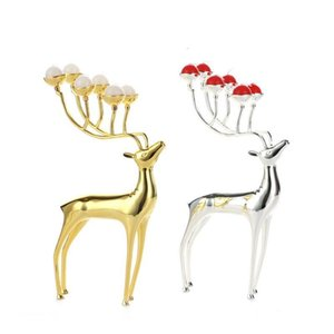 Luxurious Deer Candle Holders Stainless Steel Candle Holder Candlestick Wedding Centerpieces Candelabra Decoration Christmas Party Supplies