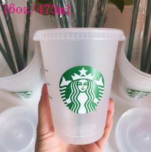 Starbucks 16oz 24OZ Tumblers Mugs Plastic Drinking Juice With Lip And Straw Magic Coffee Mug Costom Transparent cup 50pcs DHL transport