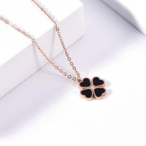 Simple tidal net red lock titanium steel colorls Necklace female rose gold belt diamond four leaf love grass Necklace female