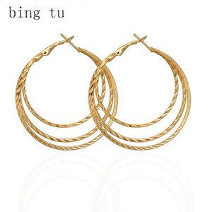 Bing Tu Multi Layered Earring Rose Gold Silver Color Round Hoop Earrings For Women Big Hollow Earings Aretes De Mujer Modernos & Huggie