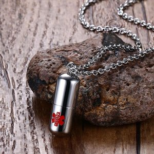 Stainless Steel Pills Cremation Ash Urns Necklaces With Alert Sign Secret Compartment Box Pendant