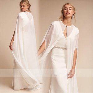 2019 Cheap Bridal Jackets Custom Made Long Chiffon Wedding Cape Shawls Women Floor Length Wraps for Formal Dresses
