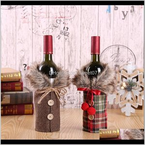 Decorations Christmas Red Wine Cover The Bar Xmas Button Plain Clothes Bottle Decoration Dinner Table Decor For Home 5Yobu Eb38I
