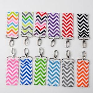 Chevron Chapstick Holder Zigzag Hook Bag Keychains Lips Gift Bags Charmer DOM002