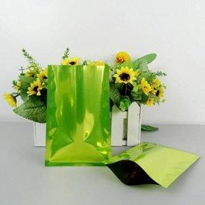 200pcs lot 9*13cm Green aluminium foil flat bag-metallic vacuum plant seed medical packing food sack, heat sealable ping pocket