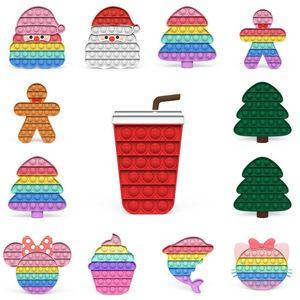 Christmas Push Bubble Fidget Toys Macaron Rainbow Cartoon Poo-its board Game Kids Xmas Tree Santa Drinks Anti Anxiety Stress Relief Finger Toy G95154F