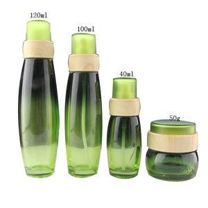 4pcs set Green Glass Lotion Pump Bottle Refillable Perfume Cream Jars Empty Cosmetic Packaging Travel Set Storage Bottles &