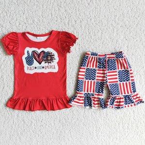 Мода детская одежда набор 4 июля 4 июля малыш малыш девочек дизайнерская одежда рюшами шорты лето девушка бутик наряда независимости день дети детские дети фестиваль