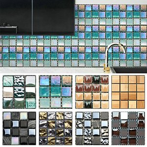 Wall Stickers 10pcs Mosaic Self Adhesive Tile Backsplash Sticker 3D Waterproof DIY Bathroom Home Decor