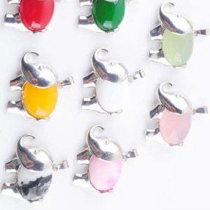 Other Fashion Accessories WOJIAER Energy Cute Elephant Pendants Natural Chalcedony Jades Gem Stone For Child Jewelry Chakra Yellow White Red DBN369